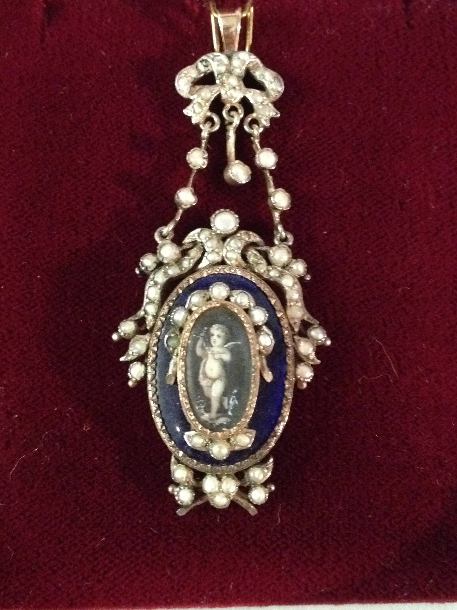 Mid 19th Century French Portrait Miniature Pendant